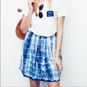 Madewell Tie Dye Indigo Wash Mini Circle Skirt